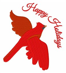 Happy Holidays Cardinal embroidery design