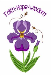Faith Hope Wisdom embroidery design