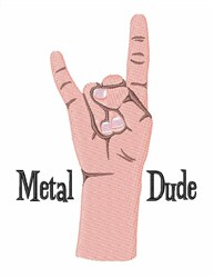 Metal Dude embroidery design