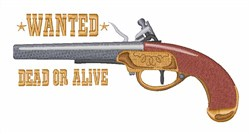 Wanted Pistol embroidery design