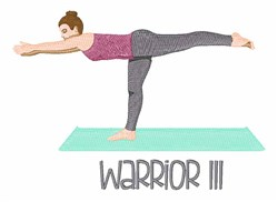 Yoga Warrior III embroidery design
