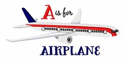 A For Airplane embroidery design