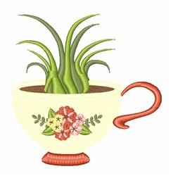 Succulent Tea Cup embroidery design