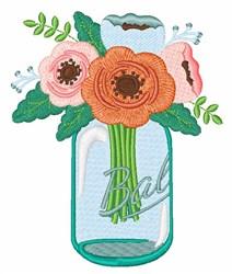 Mason Jar Flowers embroidery design