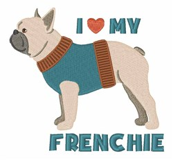 Love Frenchie embroidery design