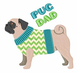 Pug Dad embroidery design