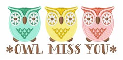 Owl Miss You embroidery design