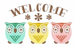 Welcome Owls embroidery design