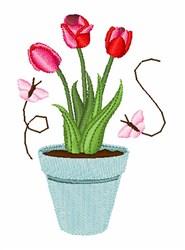 Tulip Butterflies embroidery design