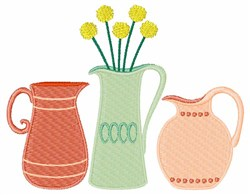 Floral Vases embroidery design