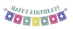 Happy Birthday Banner embroidery design