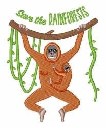 Save The Rainforests Orangutans embroidery design