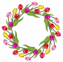Tulips Wreath embroidery design