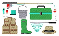 Fishing Equipment embroidery design
