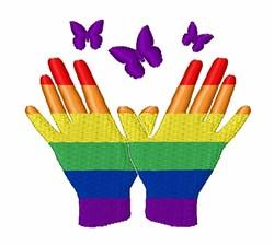 Gay Pride Hands embroidery design