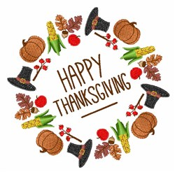 Happy Thanksgiving Wreath embroidery design