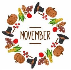 November Wreath embroidery design