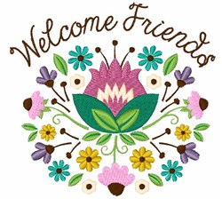 Welcome Friends Bouquet embroidery design