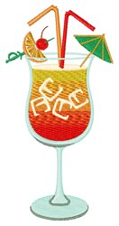 Tequila Sunrise Drink embroidery design