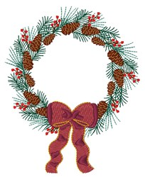Pine Wreath embroidery design