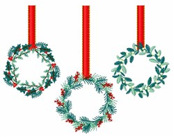 Hanging Wreaths embroidery design
