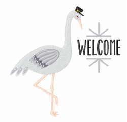 Welcome Stork embroidery design