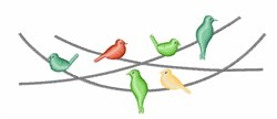 Birds On Wire embroidery design