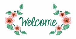 Welcome Flowers embroidery design