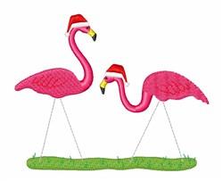 Christmas Flamingos embroidery design