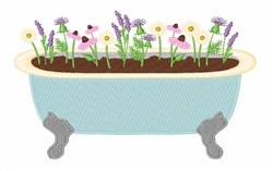 Flower Bath Tub embroidery design