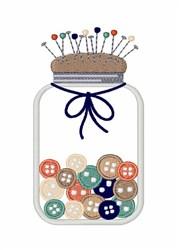 Button Jar Pincushion embroidery design