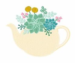 Succulent Tea Pot embroidery design