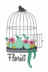Florist Bird Cage embroidery design