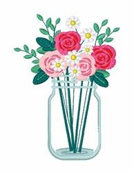 Mason Jar Bouquet embroidery design