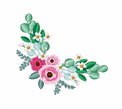 Eucalyptus Roses embroidery design