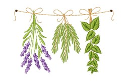 Herbs embroidery design