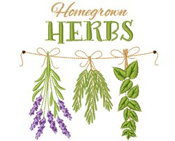 Homegrown Herbs embroidery design