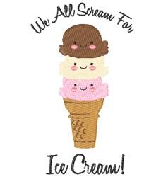 Scream For Ice Cream embroidery design