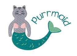 Purrmaid embroidery design