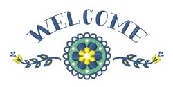 Welcome Floral embroidery design