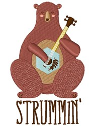 Bear Strummin embroidery design