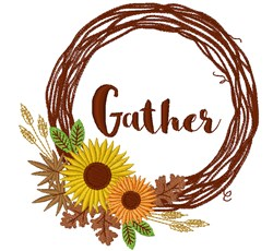 Wreath Gather embroidery design