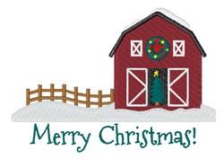 Merry Christmas Barn embroidery design