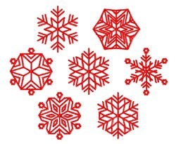 Redwork Snowflakes embroidery design