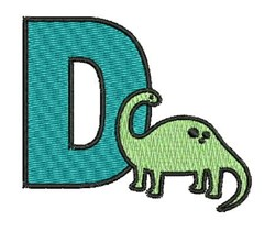 D For Dinosaur embroidery design