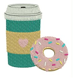 Coffee And Donut embroidery design
