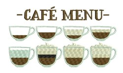 Cafe Menu embroidery design