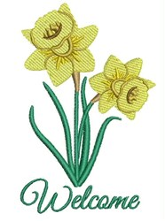 Welcome Daffodils embroidery design