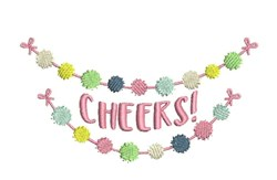 Cheers Banner embroidery design