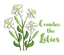 Consider The Lilies embroidery design